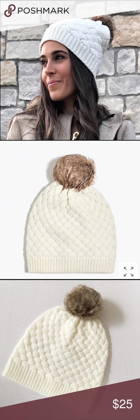 48c4c03b9d917 NEW J Crew Factory knit faux fur Pom Pom hat New with tag. J Crew ...