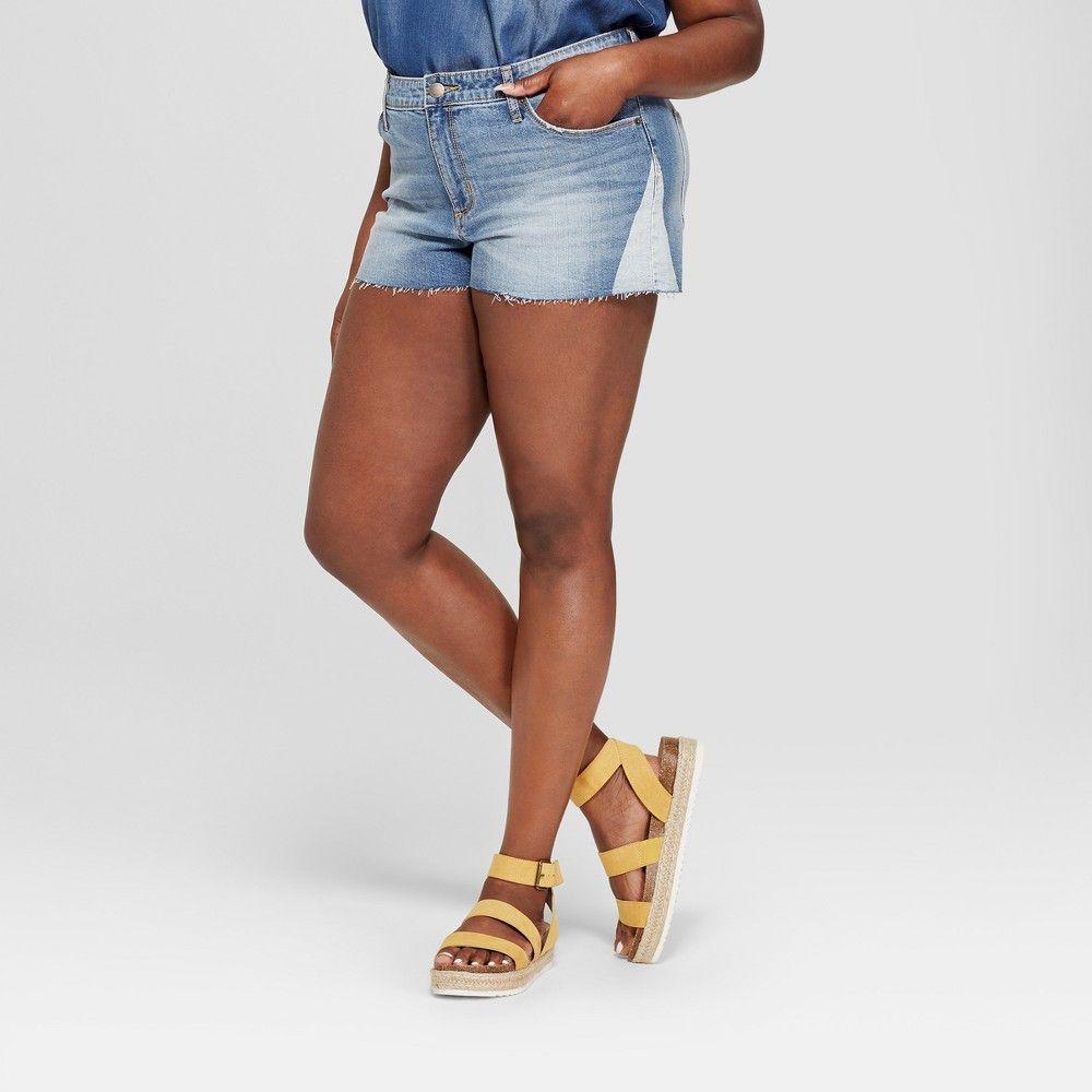 ade3d5585bd3a Women s Plus Size Raw Hem Jean Shorts - Universal Thread Medium Wash ...