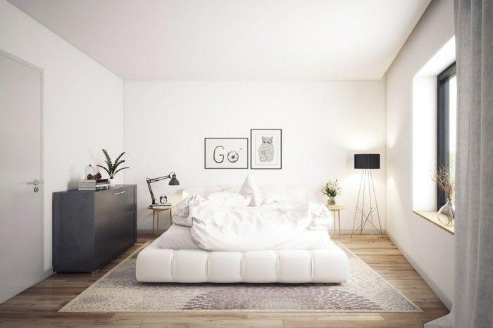 wohnideen schlafzimmer skandinavisches design holzboden wanddeko - wanddeko