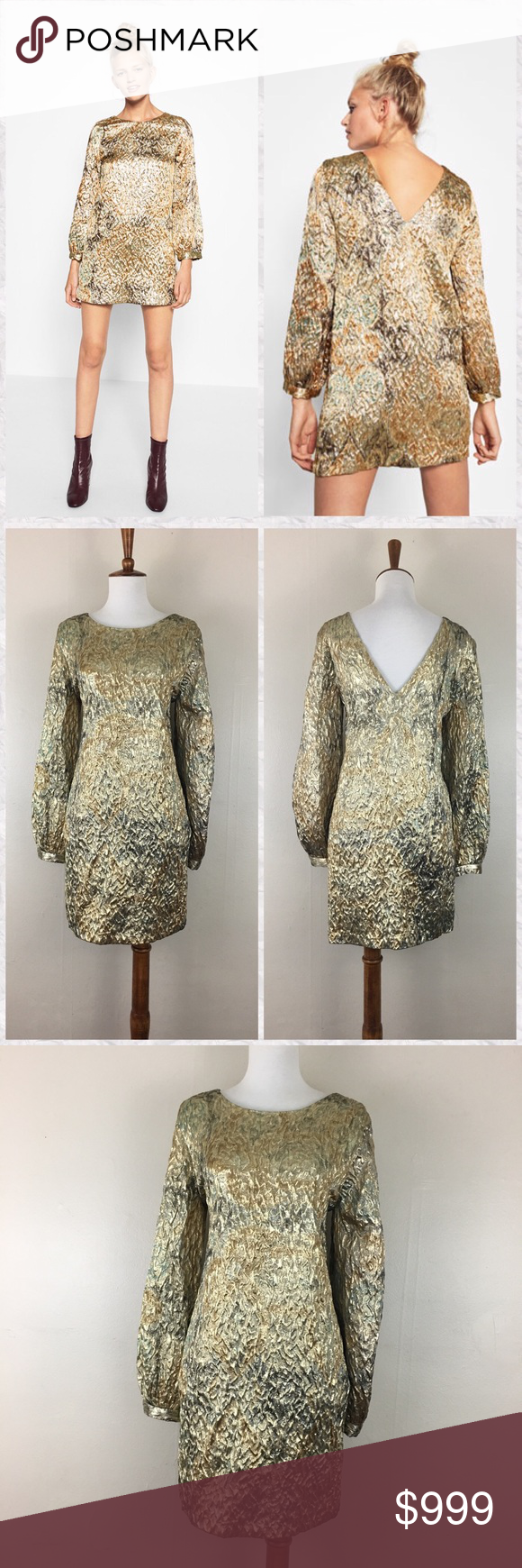 Zara gold metallic jacquard long sleeve mini dress nwt my posh