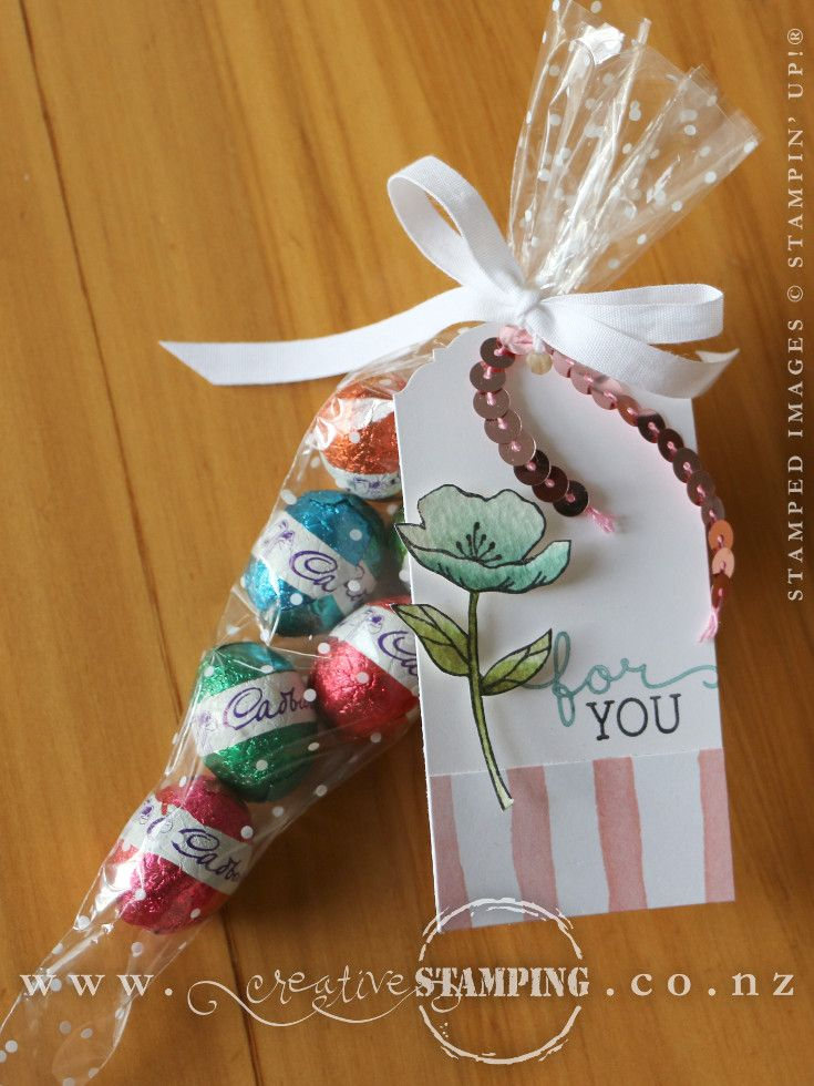 Polka dot cone cellophane bags filled with easter eggs decorated the polka dot cone cellophane bags are a great way to package easter gifts this one has mini easter eggs and a tag stamped with the birthday blooms stamp negle Choice Image