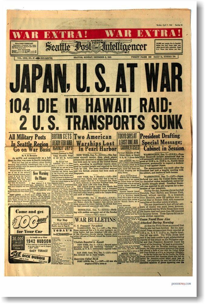 Japan U S At War Headline Pearl Harbor New Vintage Historic Newspaper Poster Historical Newspaper Pearl Harbor Newspaper Headlines