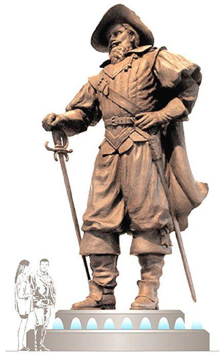 captain christopher newport   captain christopher newport monument sketch 24 foot bronze historic ...