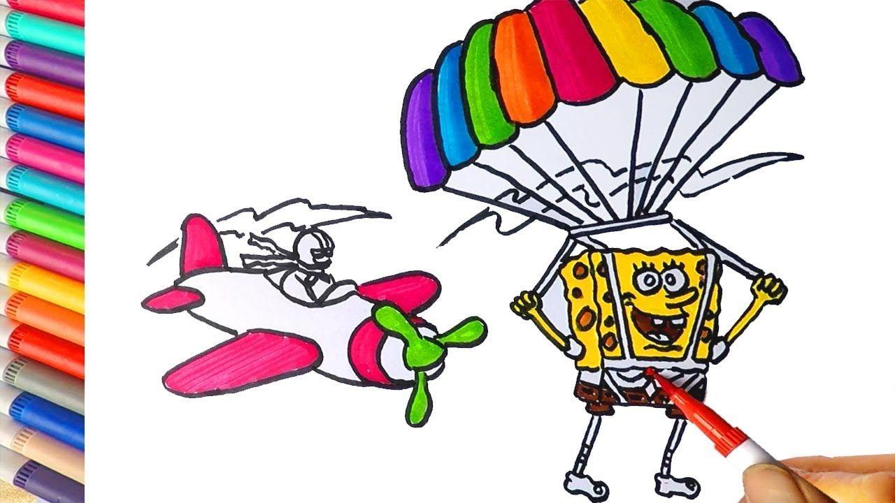 Cara Menggambar Dan Mewarnai Spongebob Terjun Payung Learn Colors