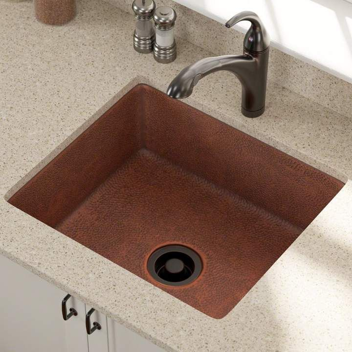 Mr Direct Copper 25 L X 22 W Undermount Kitchen Sink Single