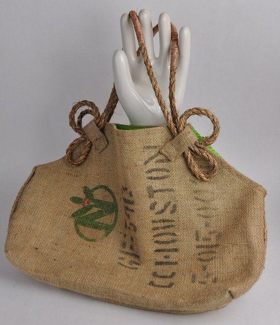 Unique Burlap Tote Rope Handles, Coffee Sack Market Tote via Etsy