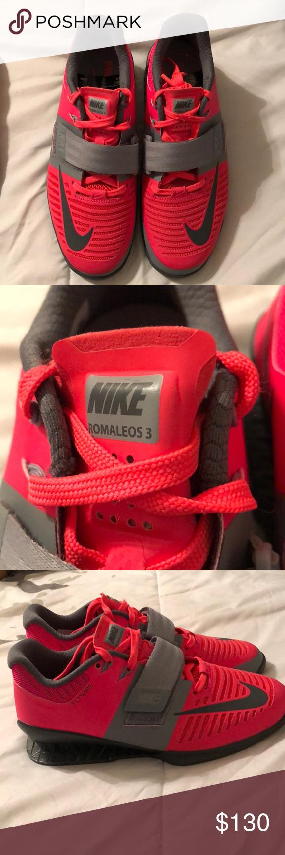 Women s size 7 Solar red Grey Nike Romaleos 3 Never worn 02221ae35