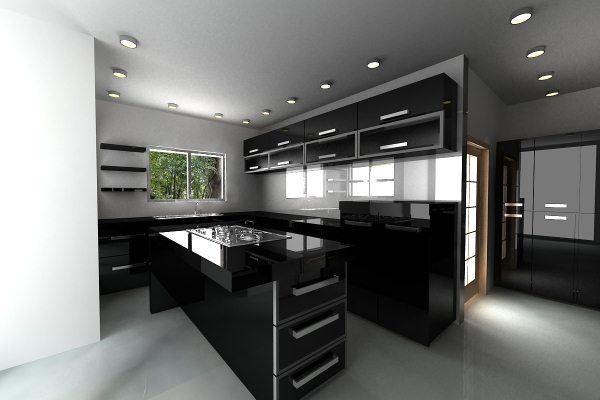 Cocina color negro cocinas pinterest cocinas for Catalogo cocinas integrales