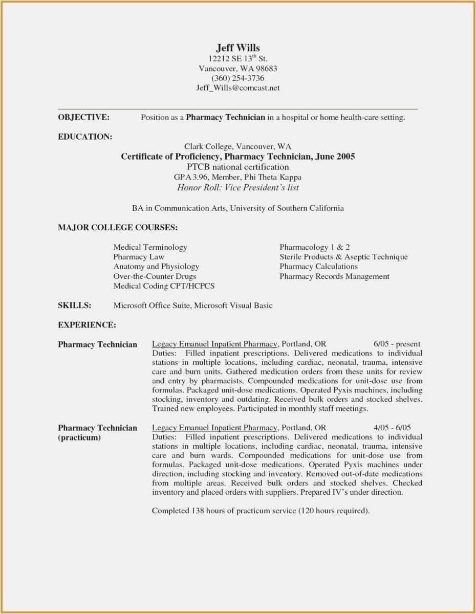 Pharmacy Technician Resume Sample Pharmacy Technician