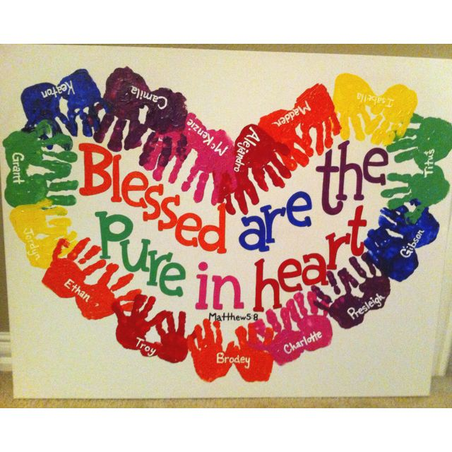Bulletin Board Ideas 2 Year Olds: 3 Year Old Class Handprint Canvas For Auction