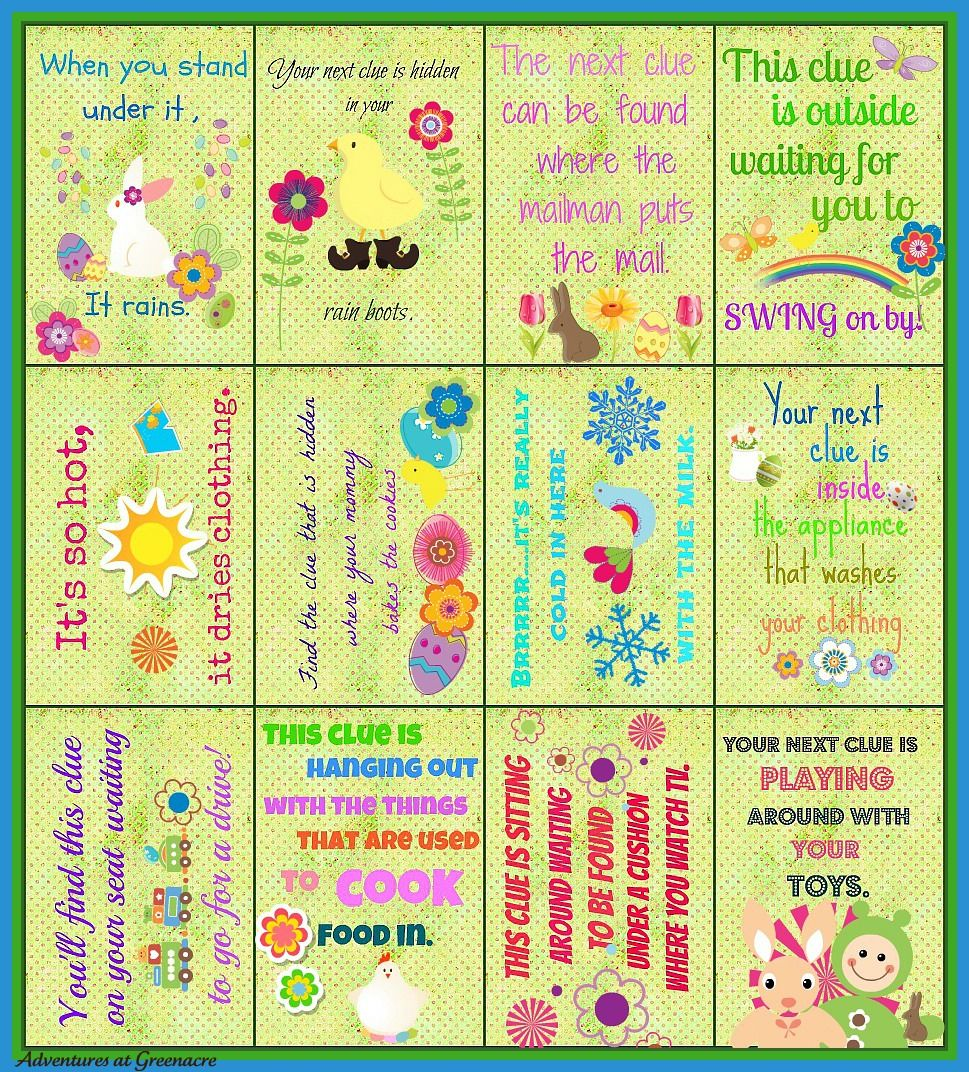 adventures at greenacre free easter egg hunt clues printable