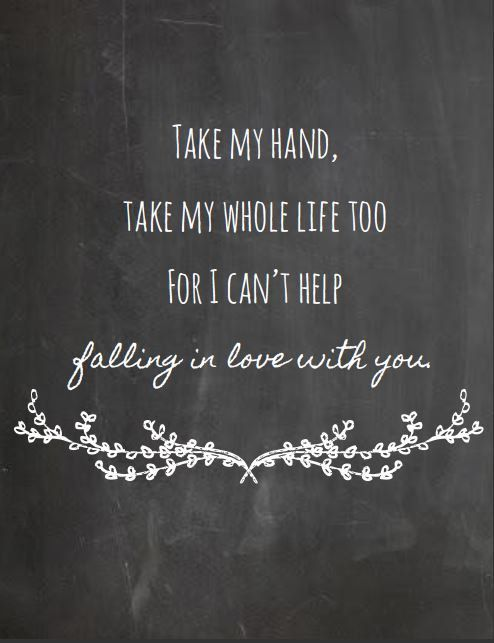 elvis presley i can t help falling in love with you chalkboard style print song lyric print