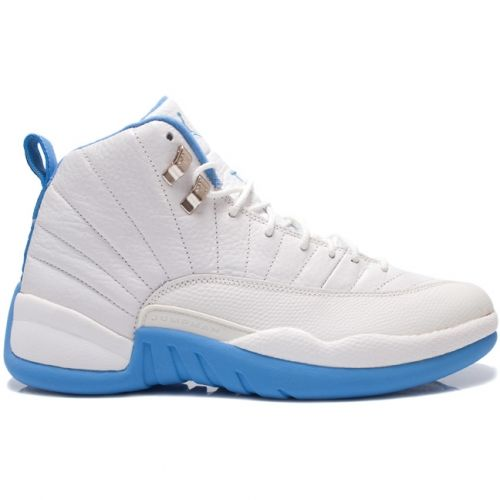 Discount Authentic 136001-142 Mens Nike Air Jordan 12 Retro Melo White/University Blue-Metallic Silver