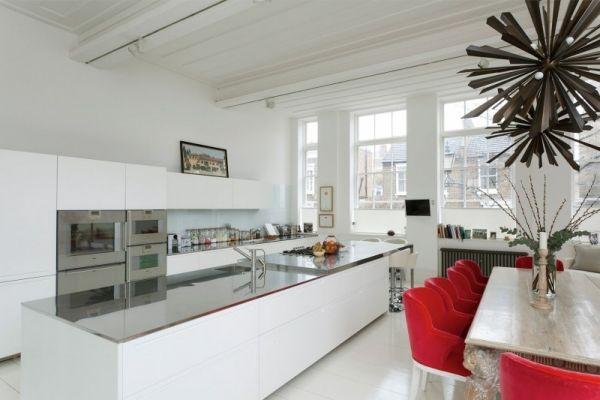 Luxus Wohnung Küche Weiß Kochinsel