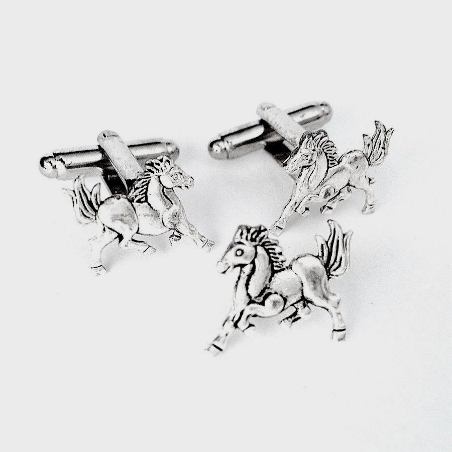 Men's Silver Running Horse Cufflinks Tie Tack- Cuff Links Set  Guys Gift Wedding #Handmade