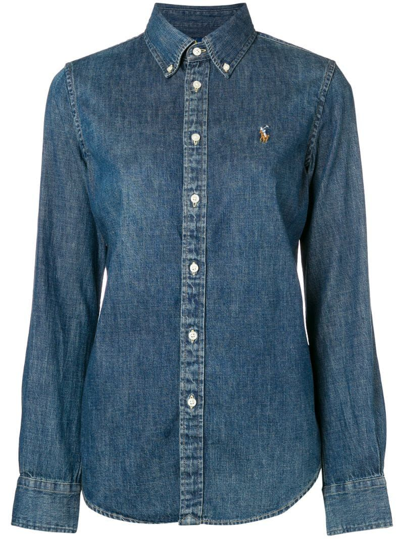 Polo Ralph Lauren Logo Embroidered Denim Shirt - Farfetch