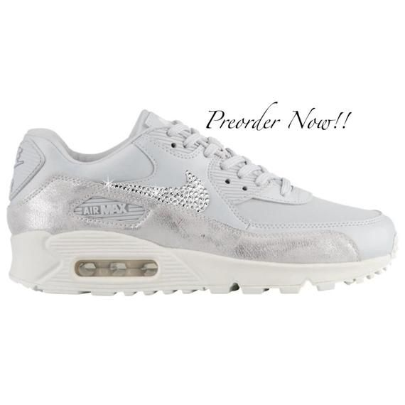 Bling Nike Air Max Thea Shoes Hand Customized with Genuine