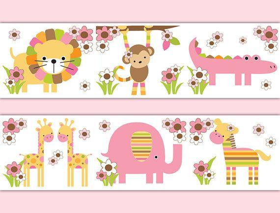 Owls Jungle Animals Wooden Bedroom Furniture Kids: SAFARI NURSERY DECOR Wallpaper Border Decals Girl Jungle