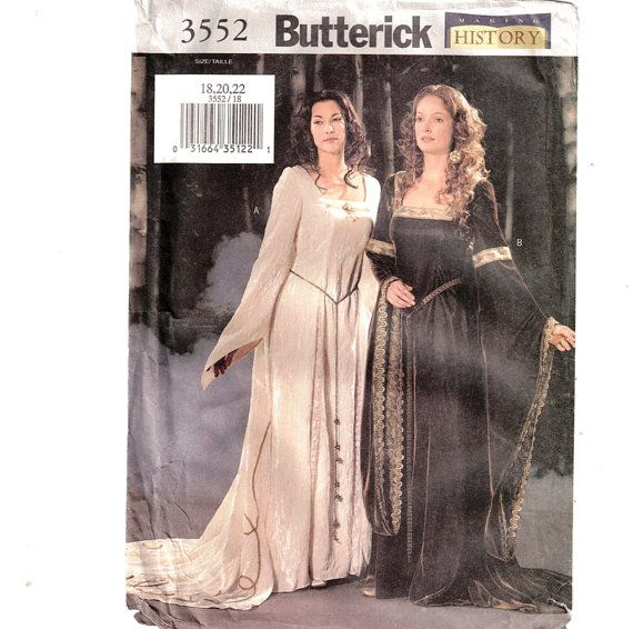 Butterick 3552 Medieval Dress Renaissance Period Size 18, 20, 22 ...