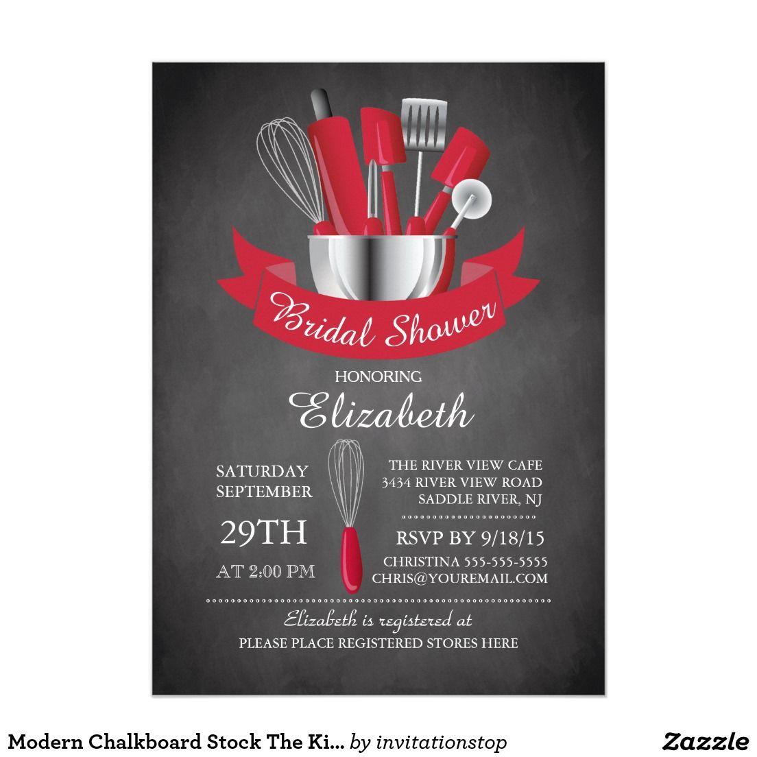 Modern Chalkboard Stock The Kitchen Bridal Shower 5x7 Paper ...