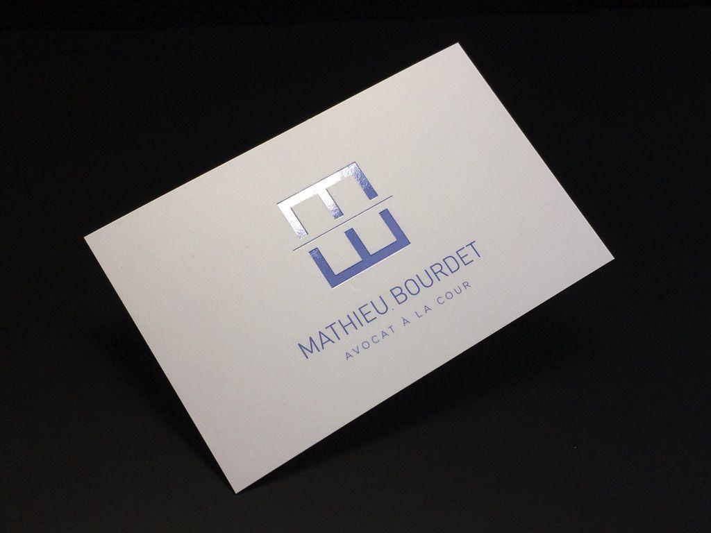 Carte De Visite Avocat Vernis Slectif Dorure Chaud Transparente Pantone Bleu Imprimerie