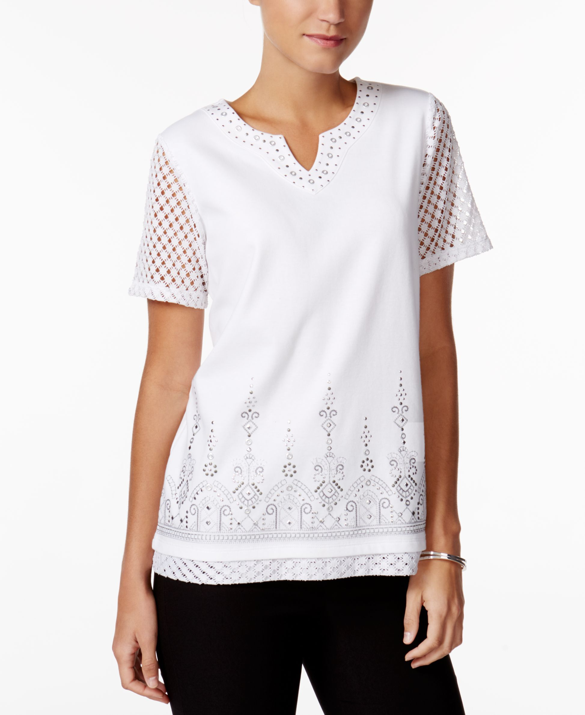 Alfred Dunner Petite Long Weekend Mesh-Trim Embellished Top