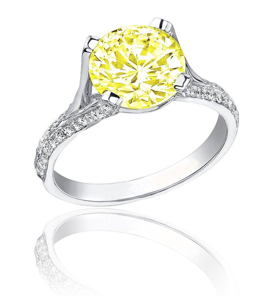 Diamond Engagement Ring 6 50 Ct Fancy Canary Yellow Round Cut 18k Gold Vvs2 90 889 66