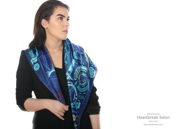 "Blue 100% silk scarf square ""Matrix"""
