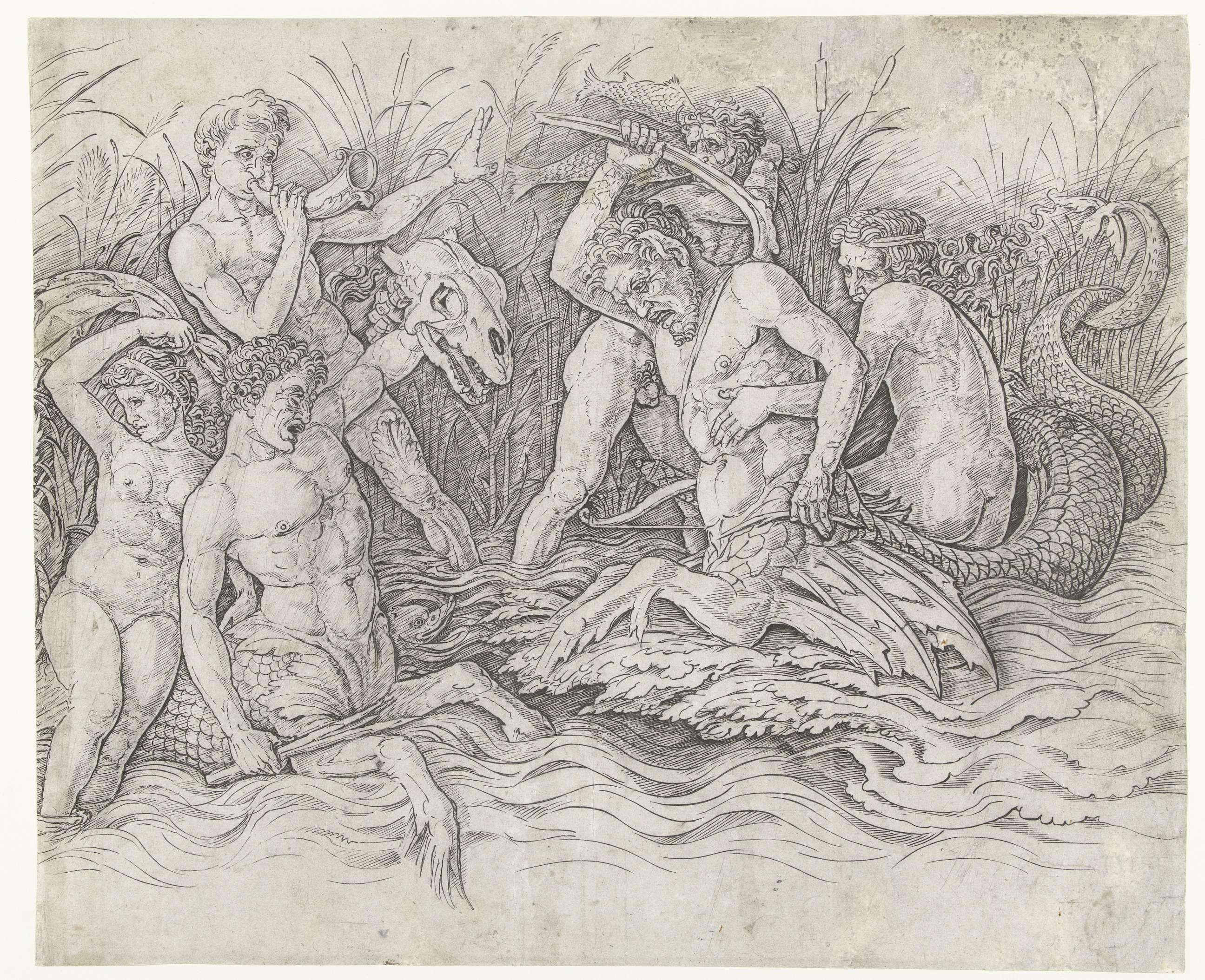 Andrea Mantegna | Gevecht tussen tritons met nereïden op hun rug, Andrea Mantegna, 1473 - 1477 |