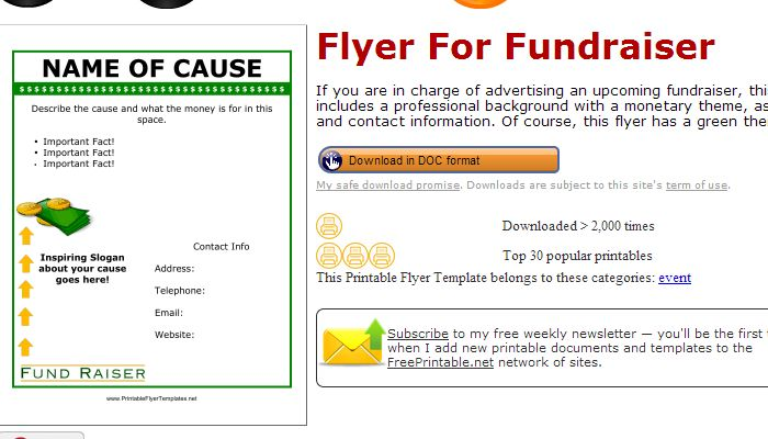 Fundraiser Template Free Printableflyertemplates  Ms  Pinterest