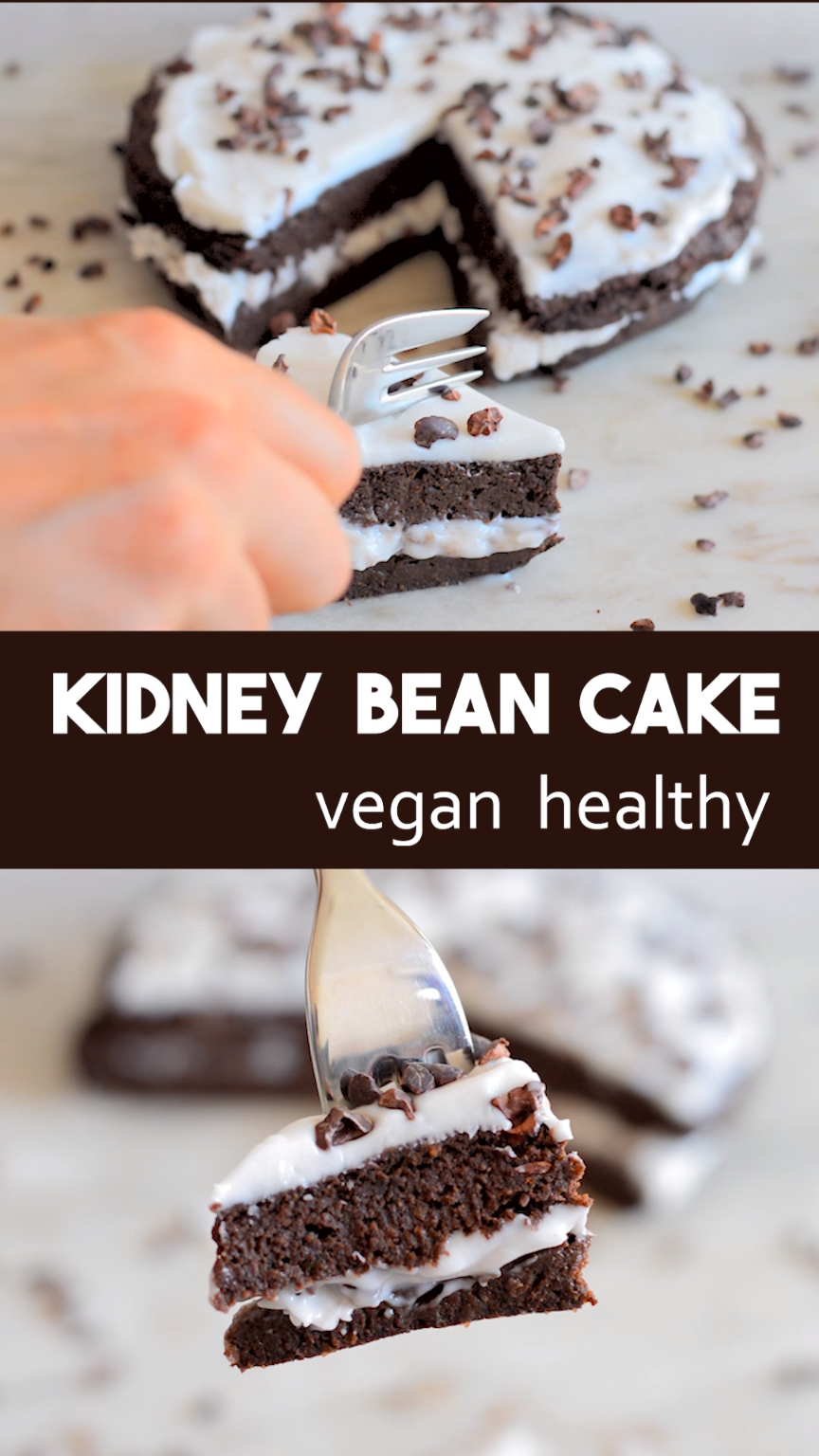 Kidney bean chocolate cake - vegan and free of refined sugar. Can be made with either red, white or magic kidney beans. Gluten-free, nut-free and high in plant protein #desertlife