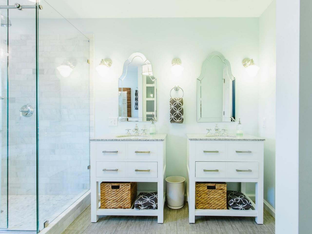 Two Single Vanities Were Used To Give This Bathroom Extra - Double vanity with two mirrors