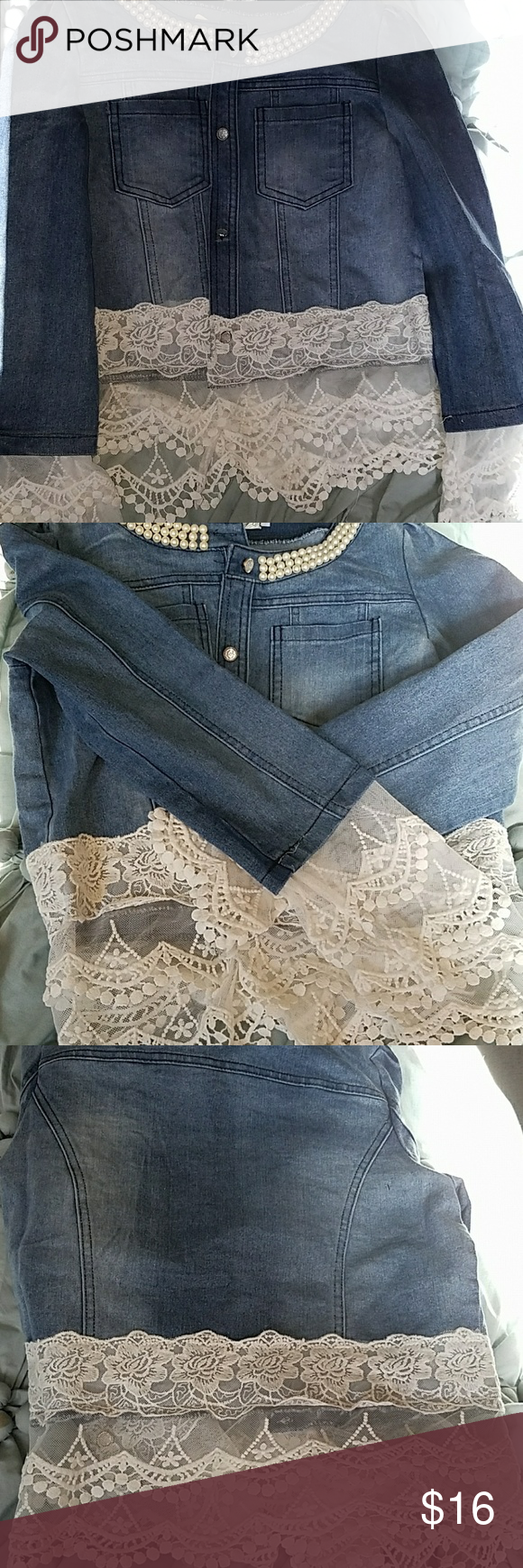 Lace denim jacket A really cute lace denim jacket Jackets & Coats Jean Jackets