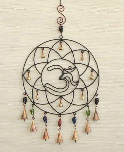 Beaded Om Lotus Wind Chimes with Camel Bells