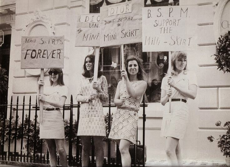 608507195 London Girls Protesting for Mini-skirts, ca. 1966 (vintage everyday ...