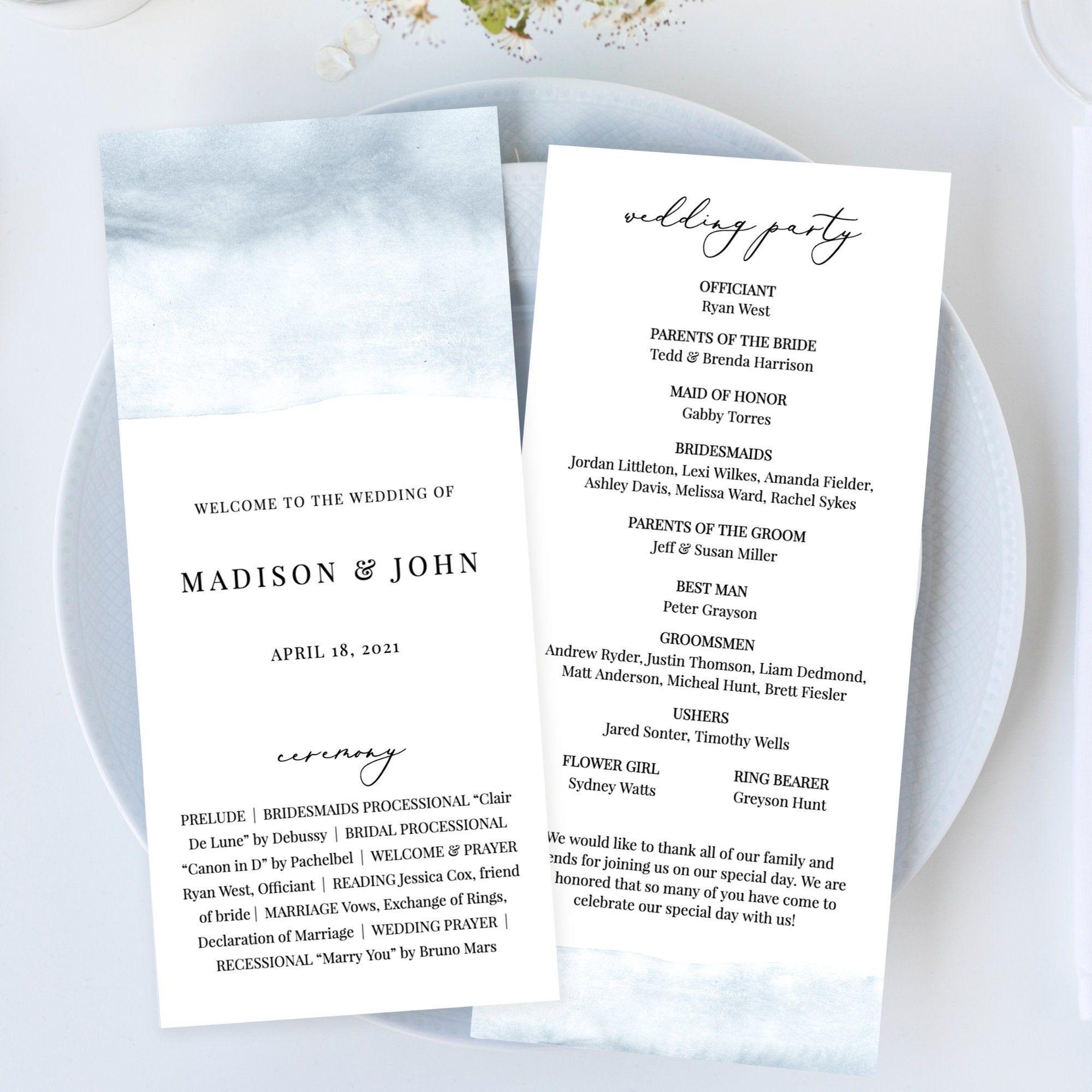 Cece Dusty Blue Wedding Program Template Watercolor Wedding Etsy In 2020 Wedding Programs Template Wedding Programs Wedding Ceremony Programs