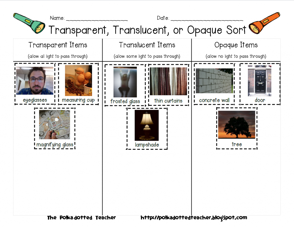 T: classify objects as transparent, translucent or opaque ...