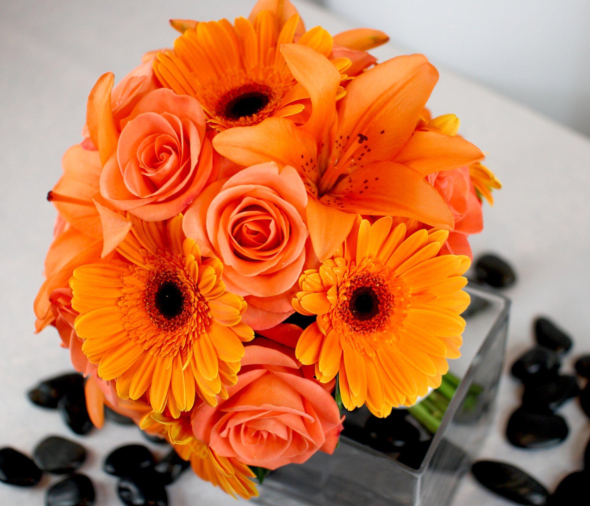 Wedding Bouquet Peach Orange Orange Wedding Flowers Orange Bouquets Daisy Bouquet Wedding