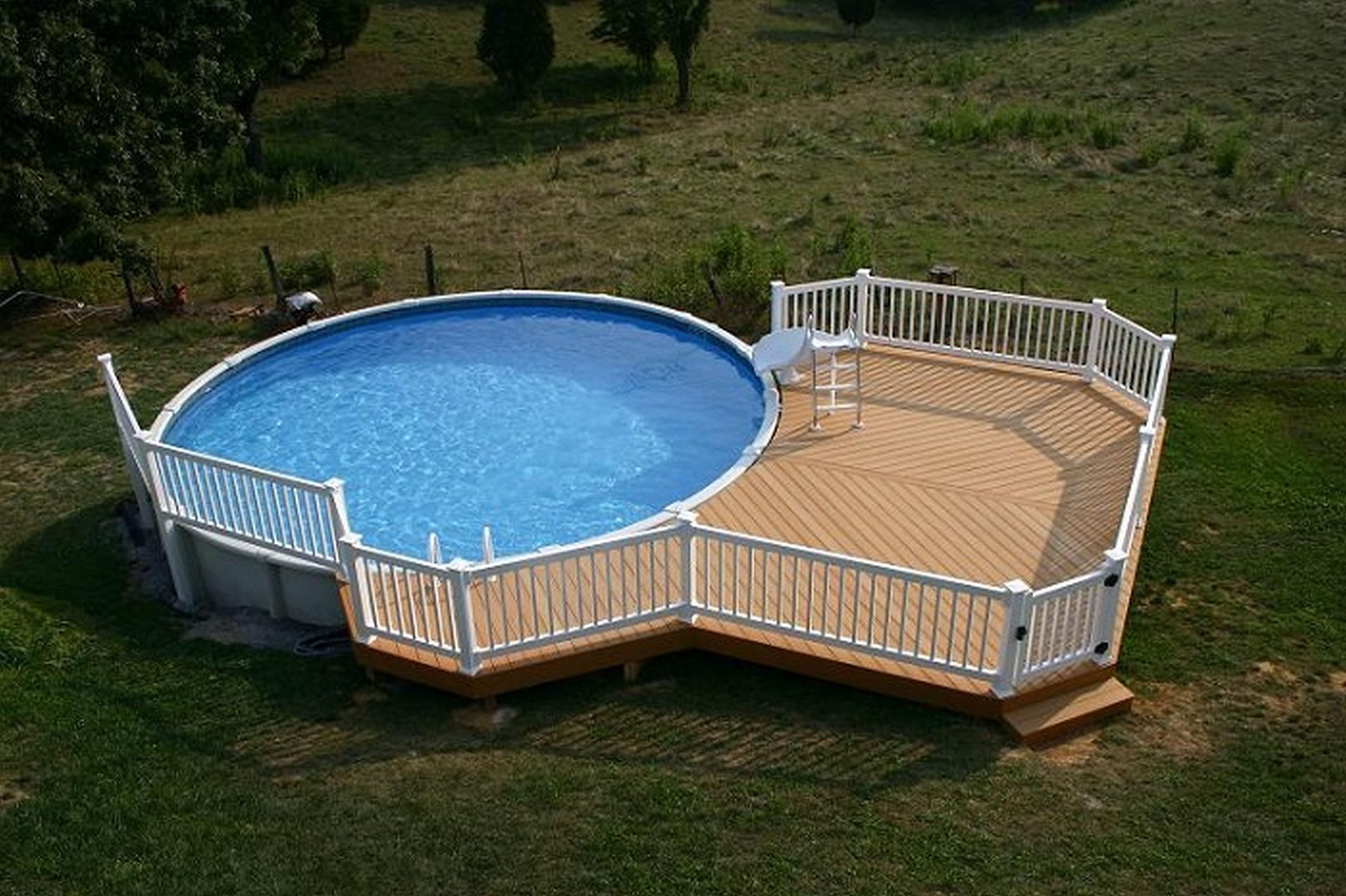 Above Ground Pool Decks Design With Wooden Deck Flooring Design ...