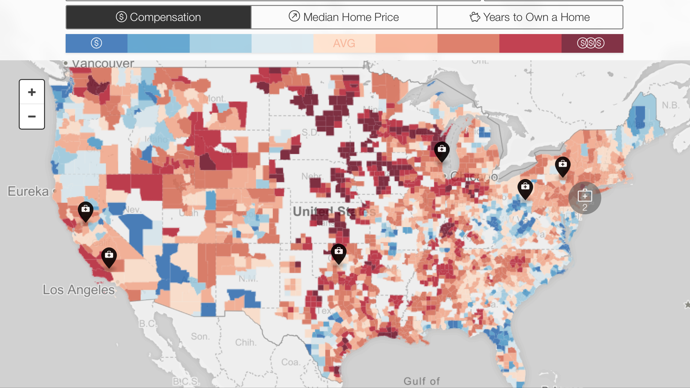 Average compensation by heat map for plastic surgeons in the US (Ref ...
