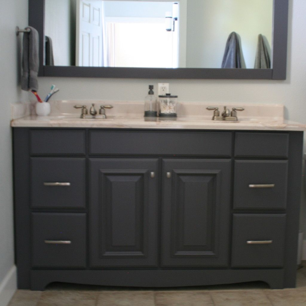 Gray Painted Bathroom Vanity And Framed Mirror Bathrooms Pinterest Paint Bathroom Vanities