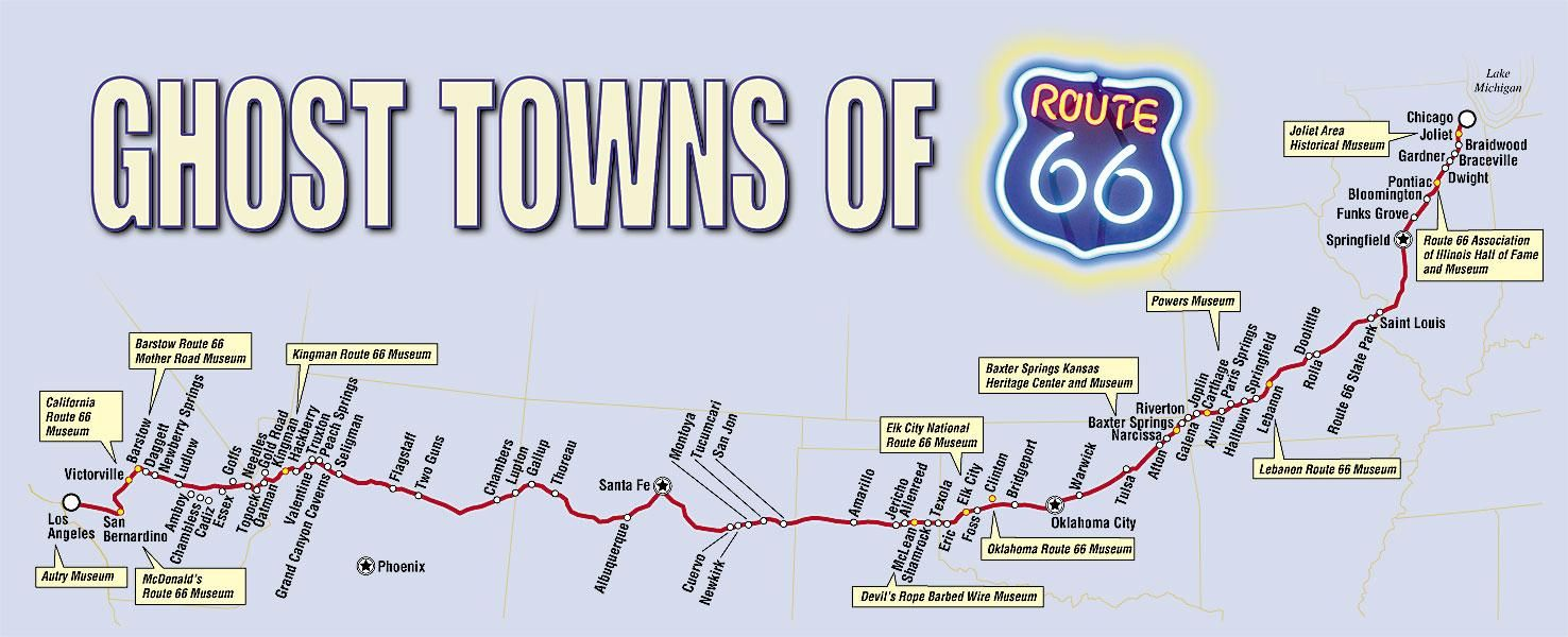 Ghost Towns In California Map.Ghost Towns Of Route 66 Route 66 Route 66 Map Route 66 Ghost Towns