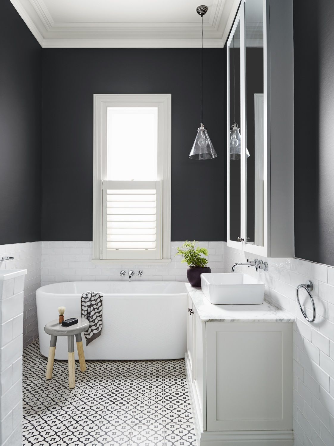Beautiful And Modern Black White Bathroom With Subway Tiles From Dulux Colour Gallery Love The Detailing On Floor