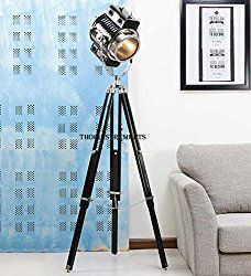 Beautiful Hollywood Spotlight Searchlight Wooden Tripod Floor Lamp Light Home Decor