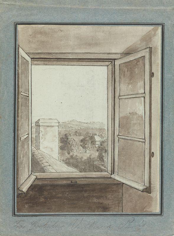 Johan Gørbitz, Utsikt gjennom åpent vindu. Første halvdel av 1800-tallet