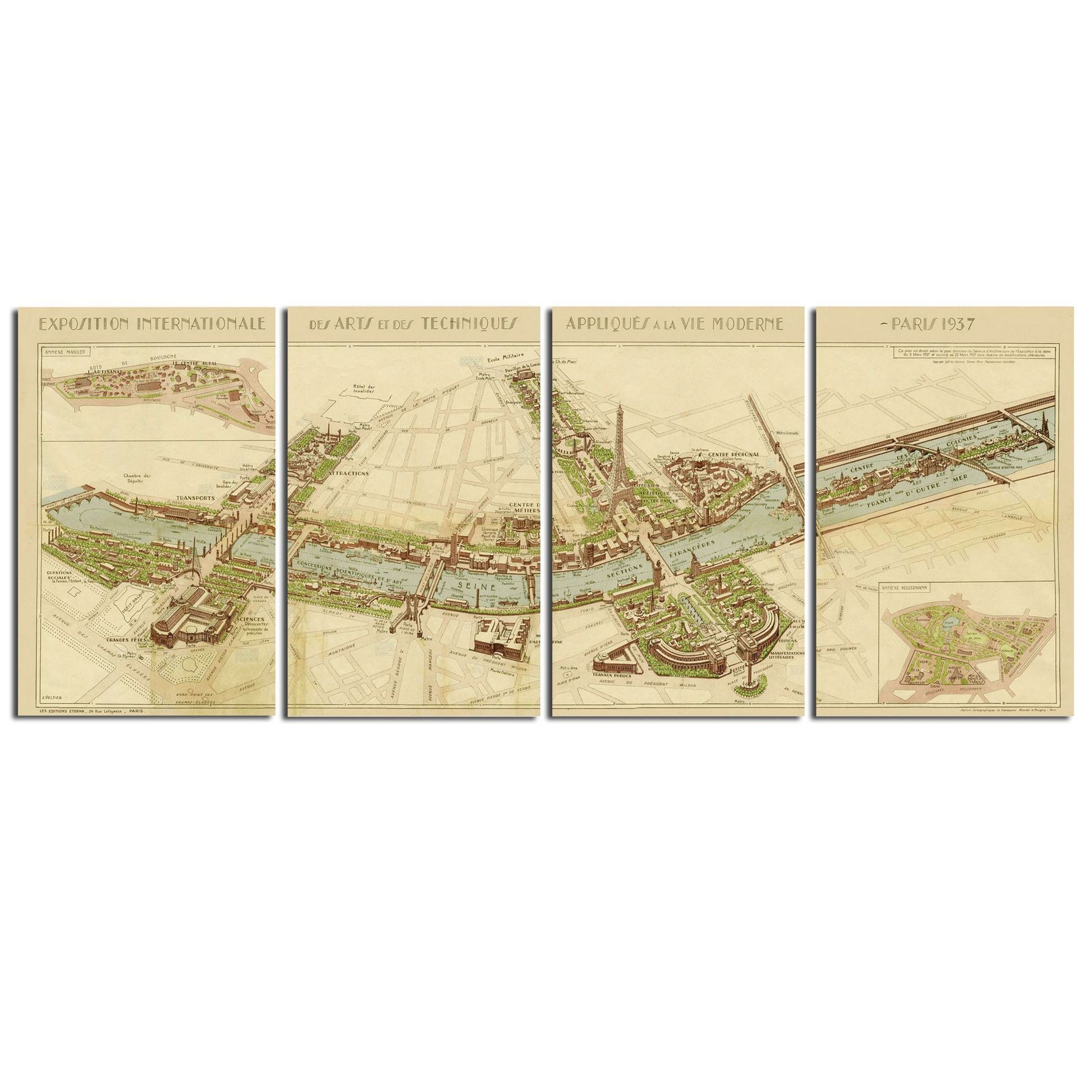 Paris Map Wall Art, Set of 4 | Products | Pinterest | Paris map ...
