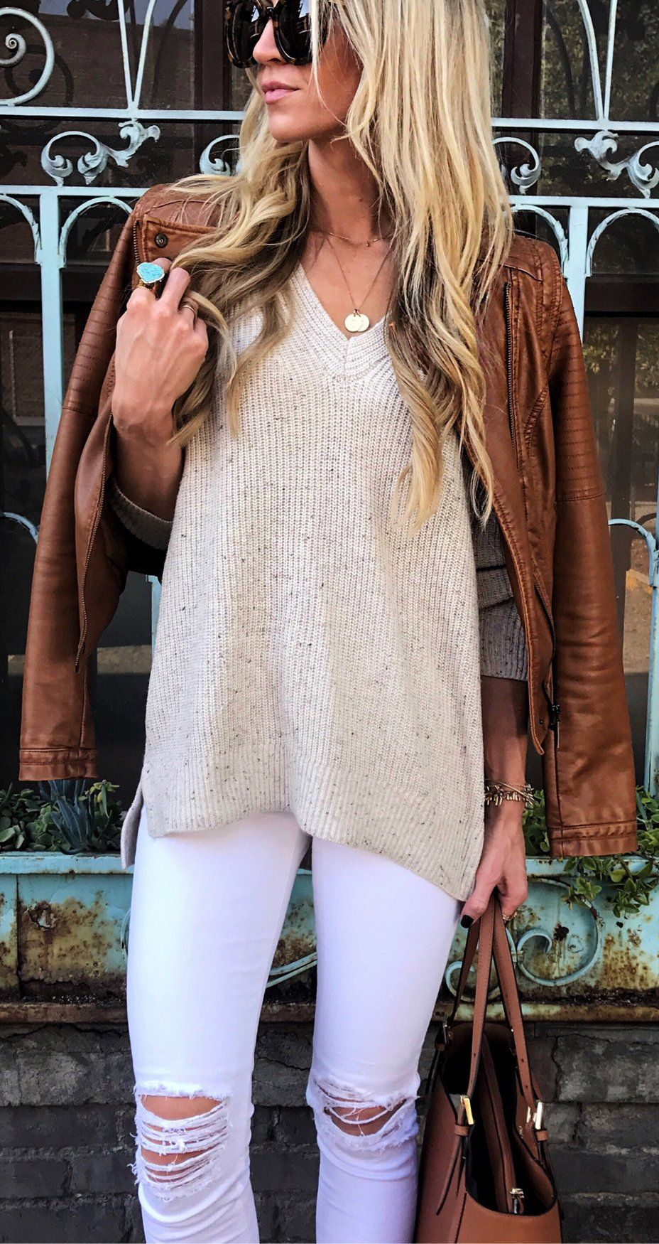 Brown Leather Jacket / Cream Vneck Knit / Ripped Skinny