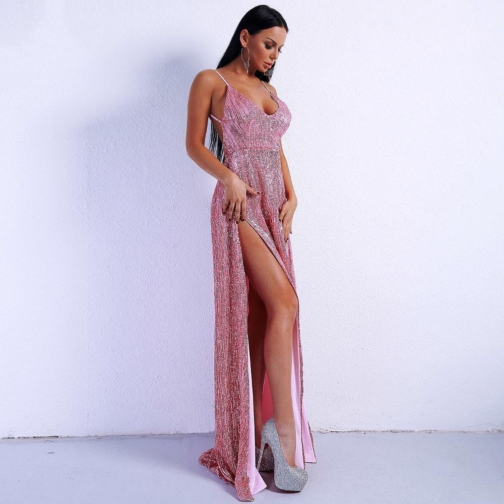 Dazzling dime pink sequin double split maxi party gown