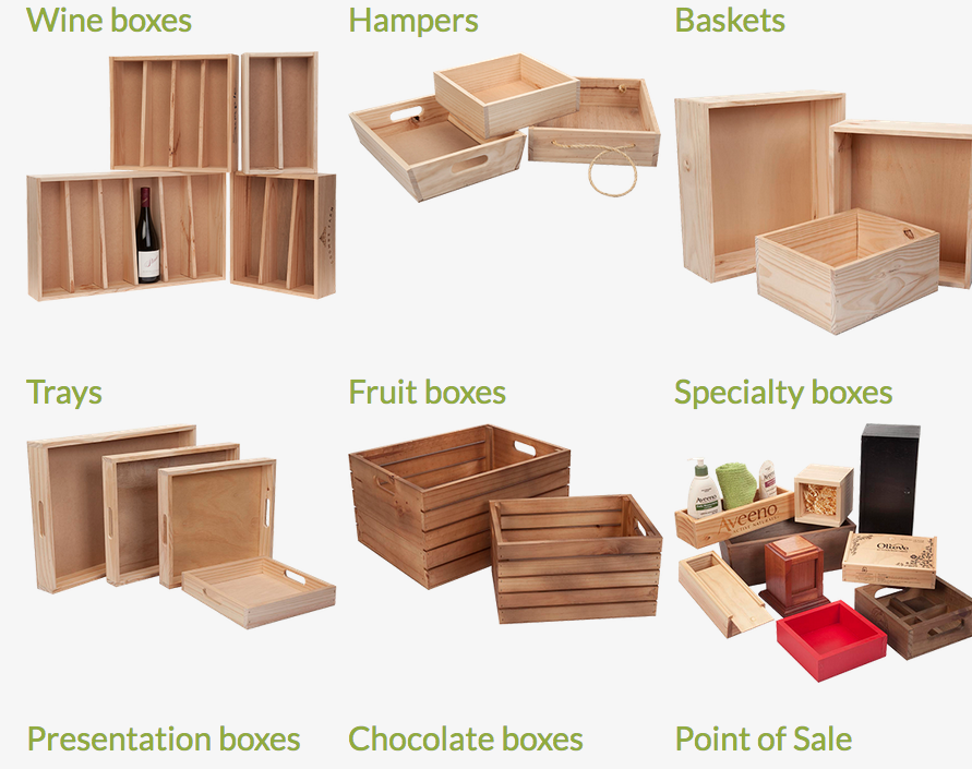 Lots of boxes, crates, etc custom made. they can also do hot stamped ...