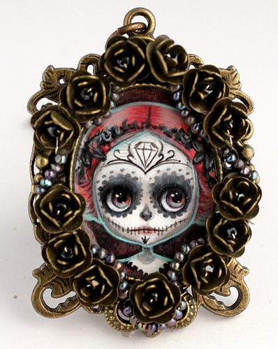 Dia de los Sugar Skull Girl -- original cameo by Mab Graves | Flickr - Photo Sharing!